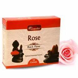 Aromatika Rose Backflow Natural Incense 120 Cones in Box of 12 Packs