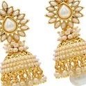 Gold Plated White Stone Jhumka