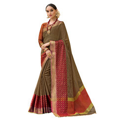 Brown & Maroon Colored Festive Wear Cotton Silk Saree