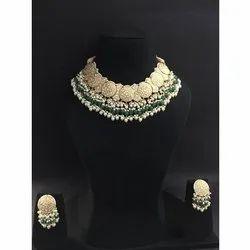 Designer Gold Natural Uncut Daimond Polki Stone Necklace Set