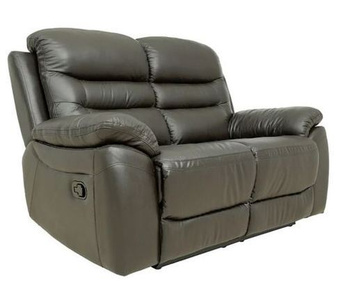 Two Seater Recliner Sofa In Half Leather Dark Brown Colour