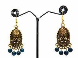 Brass Yellow Antiq Ladies Earrings with Beads
