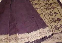 Formal Wear Plain Cotton Embossed designer Sarees, With blouse piece, 6.2m