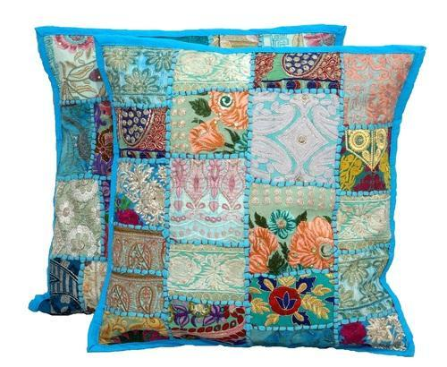 Sari Patchwork Cushion Covers Indian Ethnic Pillow Covers at Rs