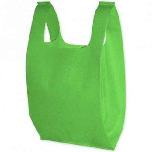 Plain Green Non Woven U Cut Bag