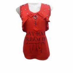 Fancy Red Sleeveless Girls Top
