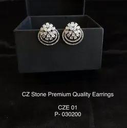White Brass CZ Stud Earrings