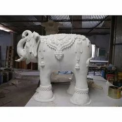 White Frp Decorative Elephant Statue, for Interior And Exterior Decor, Size/Dimension: 2.5 Ft Height