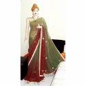 Swarupini Green and Brown Designer Leheriya Saree