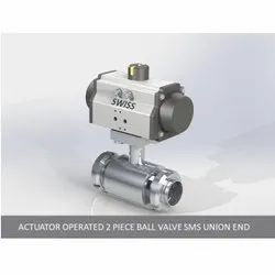 Actuator Operated 2 Piece Ball Valve SMS Union End