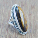 Beautiful Tiger Eye Gemstone 925 Sterling Solid Silver Ring