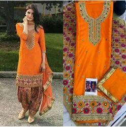Silk Wedding Wear, Party Wear Punjabi Suits With Patiala Salwar