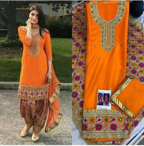 44bcc5aa72 Silk Wedding Wear, Party Wear Punjabi Suits With Patiala Salwar, Rs ...