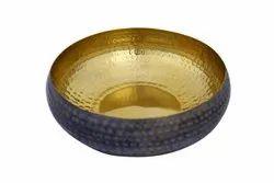 Gold and Black Metal Artifact Bowl