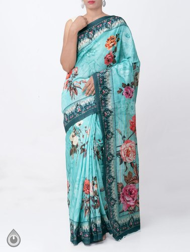 12dd6edd8a Digital Prints Pure Bengal Tussar Silk Hand Painted Saree with Blouse Piece