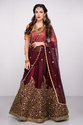 Beautiful Designer Pure Silk Embroidered Bridal Lehenga