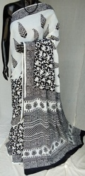 Black and White Hand Block Printed Cotton Saree