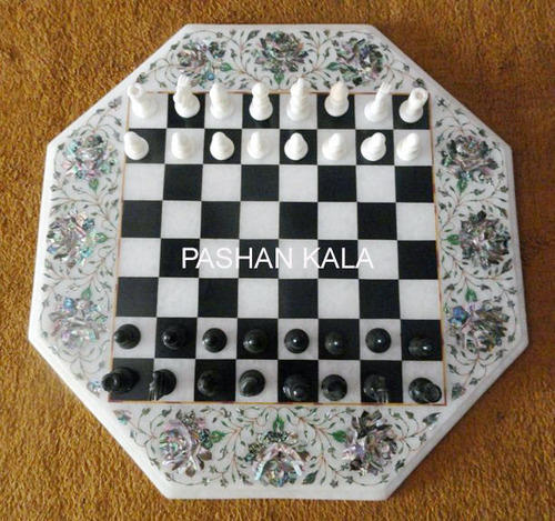 Chess Design Table Top White Marble Chess Coffee Table