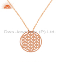 Rose Gold Plated Filigree Handmade Plain Silver Chain Pendant, Size: 18 Inch