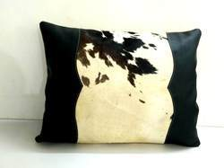 Hair on Leather Cushion Cover
