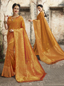 Exclusive Orange Banarasi Weaving Silk Saree With Blouse Piece