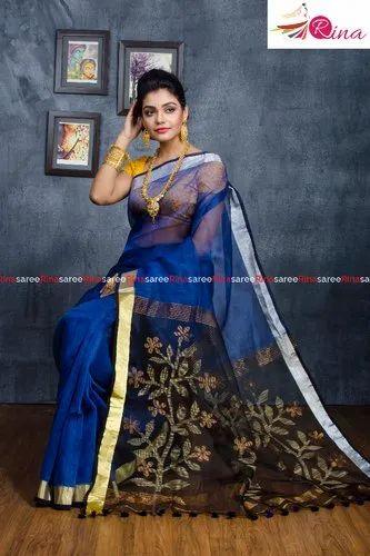 Linen Handloom Resham Anchal Saree