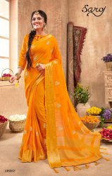 Yellow Color Silk Chiffon Saree