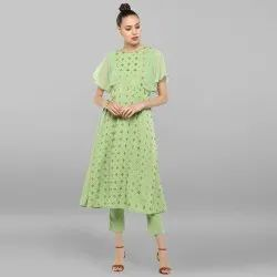 Light Green Poly Crepe Kurta With Pant(SET132)