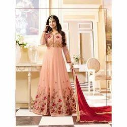 Silk Peach Color Stitched Salwar Suit