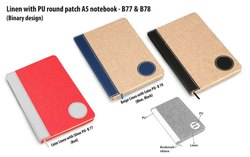 B78  Brown Linen With PU Round Patch A5 Notebook Binary Design