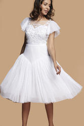 Khwaab White Round Neckline Half Ruffle Sleeves Dress, Size: S, M and L