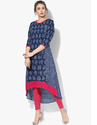 Stylish Blue Printed Cotton Kurti