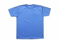 Polyester Plain Micro Honey Combed Round Neck t Shirt, Size: S to 2XL