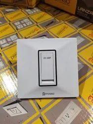 Affonso 20 Amp Flat Switch, Switch Size: 1 Module