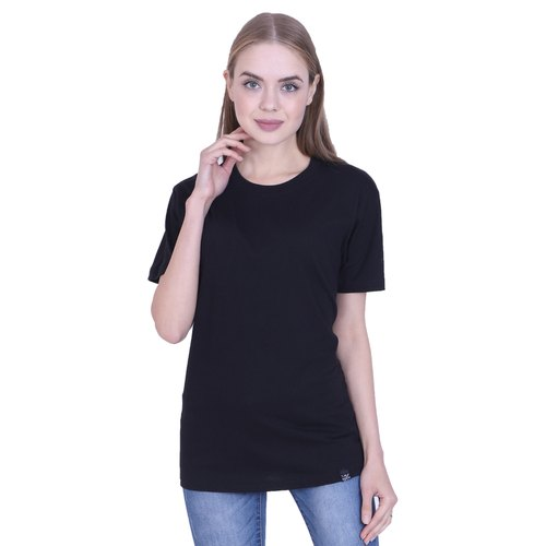 5a42819c283bb4 Casual Half Sleeve Ribbons and Mustache Women' s Black Plain Cotton T Shirt,  Size