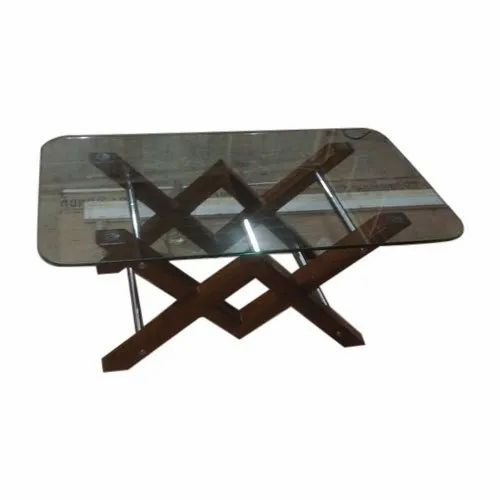 Rubber Wood Brown Glass Center Table With Magazine Holder For Home