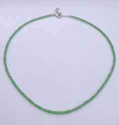 Natural Tsavorite Green Garnet Stone Faceted Rondelle Beads Necklace With Silver Hook