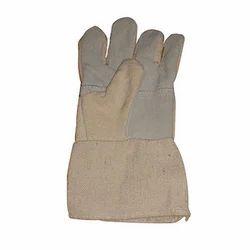 Plain Unisex Canvas Leather Gloves, For Industrial, Finger Type: Full Fingered