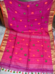 6.3 m (with blouse piece) Handwork Linen Handloom Saree