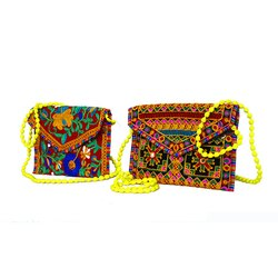 Cotton Handmade Embroidery Rajasthani Gujarati Sling/Clutch Colorful Bag