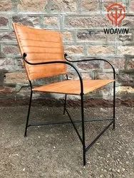 Woavin Industrial, Commercial, Indoor Luxury Design Cafe Metal Leather, Office Chair With Arm