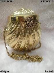 Golden Metal Brass Clutch
