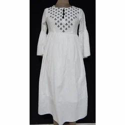 Cotton Round Neck Ladies Embroidered Kurti, Size: S, M, L, XL, XXL