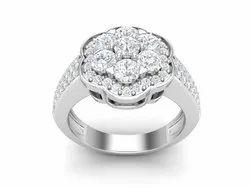 925 Sterling Silver Platinum Engagement Ring