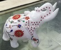 Animal Figure Inlay Inlaid White Marble Elephant, For Exterior Decor