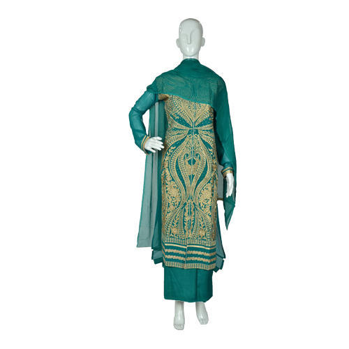 Semi-Stitched Casual Wear Traditional Embroidered Suit