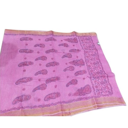 Party Wear Ladies Light Purple Chikan Chanderi Cotton Saree