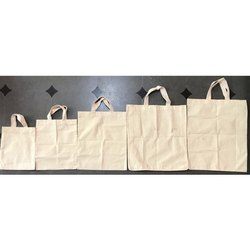 Handled Off White Cloth Bags