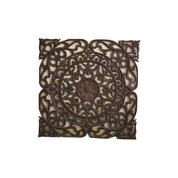 Teak Wood Brown Square Decorative Article