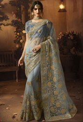 Smoke Grey Designer Net Saree